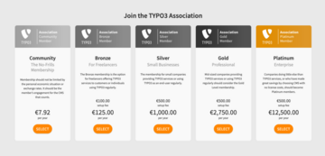 Boxes showing five TYPO3 membership types and basic information about them.