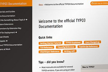 Screenshot of the docs.typo3.org homepage.