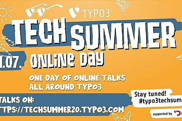 "TYPO3 Tech Summer banner. ""One Day of Online Talks"""