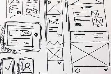 Wireframe line drawing of websites with content elements.