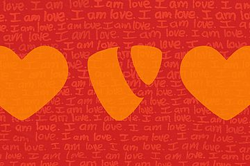 "The text ""I am love"" with two hearts and the TYPO3 logo superimposed."